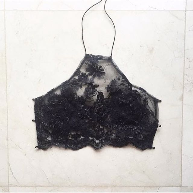 Lace/beaded lace-up crop