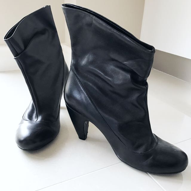Leather Sz 8 Black Ankle Heel Boots