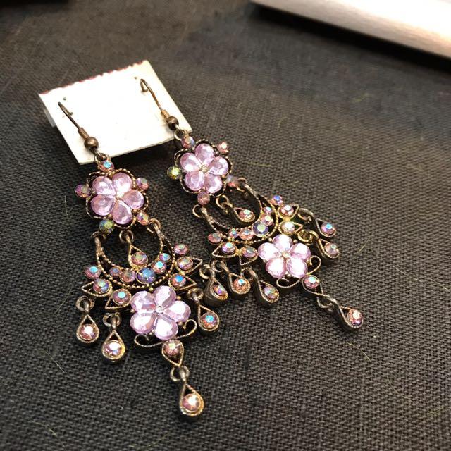 Light Purple Ethnic Earrings