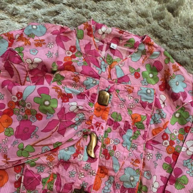 Long Blouse Pink Colorful Flower