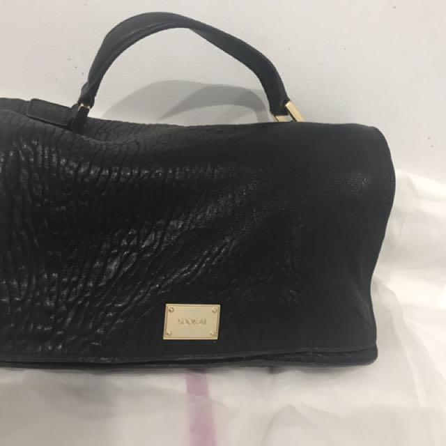 Kookai Black & Gold Pebbled Leather Bag