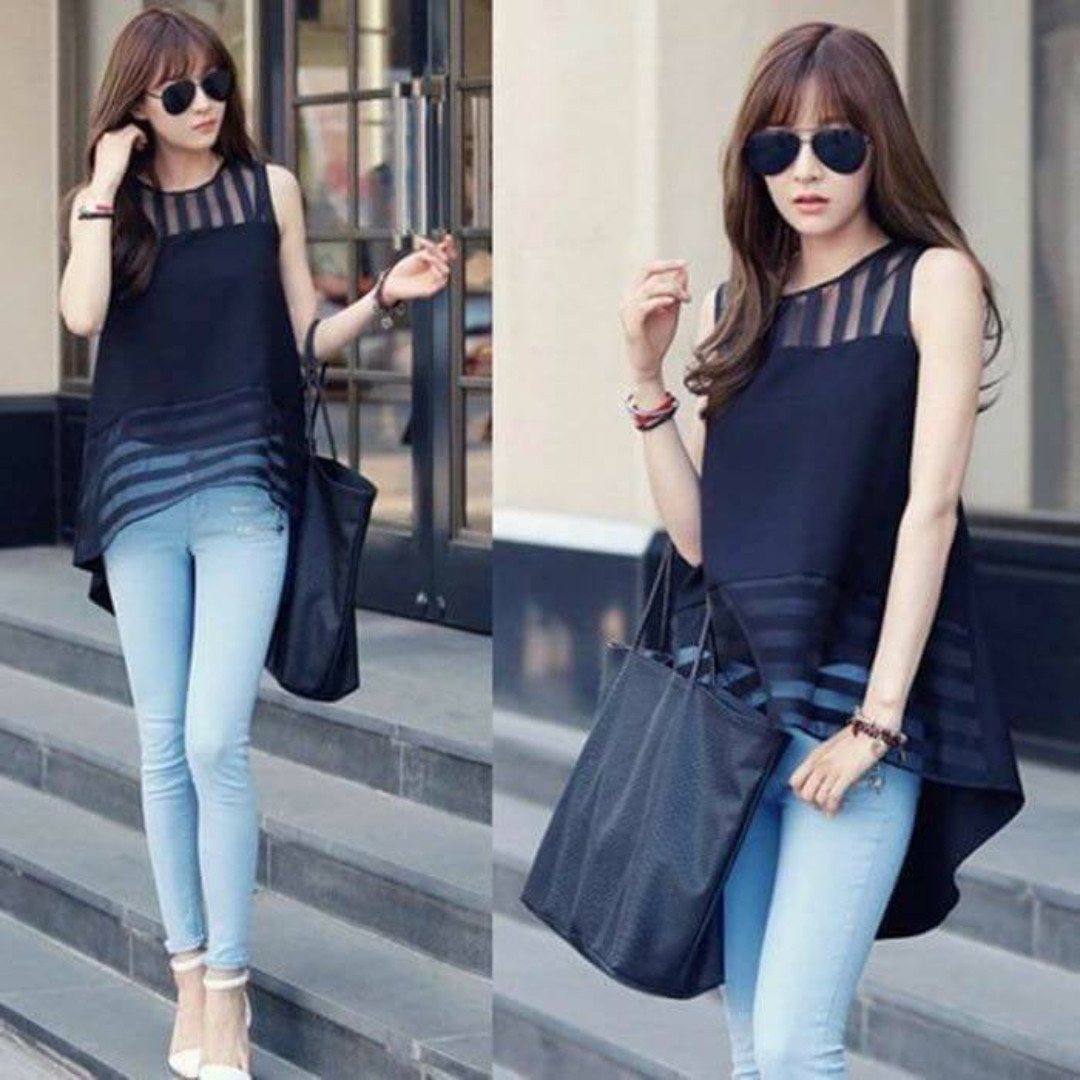 Mesh Combined Long Back Blouse