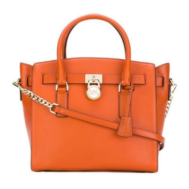 MICHAEL KORS 經典款鎖頭包手提/斜背二用/橘色/附可調節背帶(自己去美國買的當季新品,台灣還沒有賣)