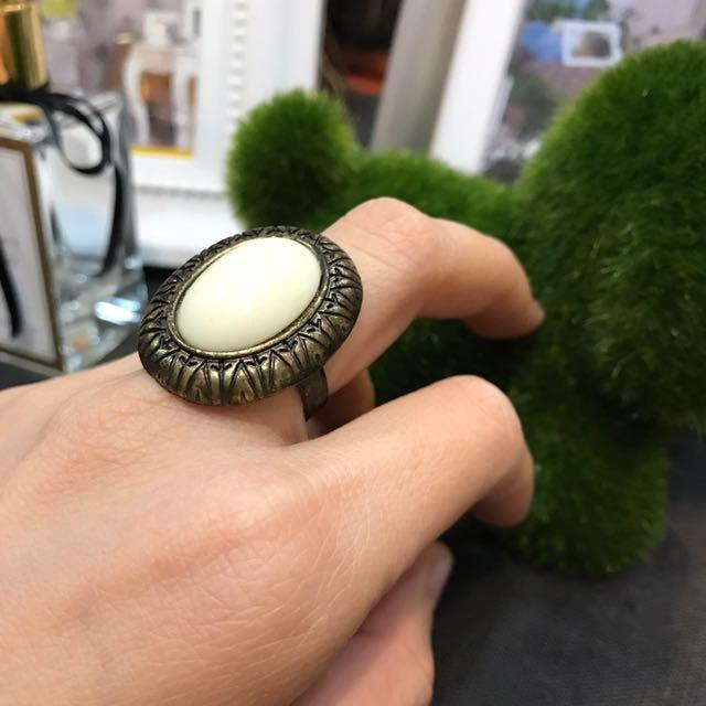 Milk White Ethnic Ring
