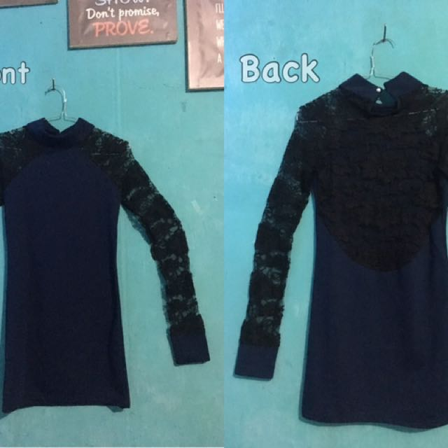 Navy Dress Lengan Brukat