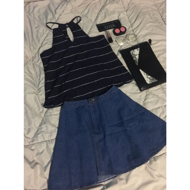 Navy Tank Top & Avenue Mini Skirt