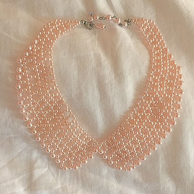 Pastel Pink Faux Pearl Collar Necklace