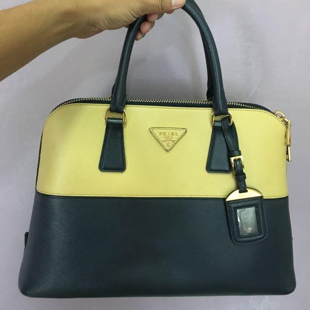 ... get prada bl836t navy blue yellow safiano alma tote womens fashion bags  wallets on carousell bcae2 ... a059eeca881dd
