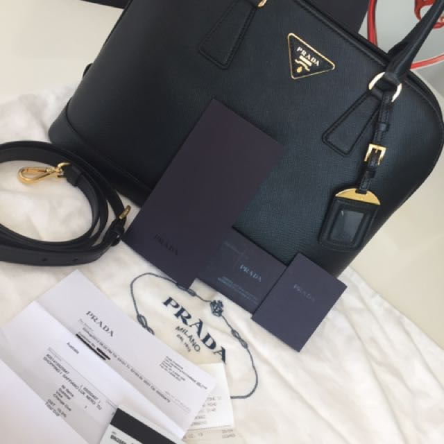 Prada Saffiano Lux Tote BN2558 Nero Black Gold Bag, Receipt & Cards