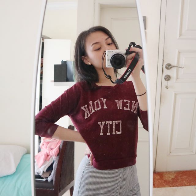 PULL&BEAR MAROON LONG SLEEVE