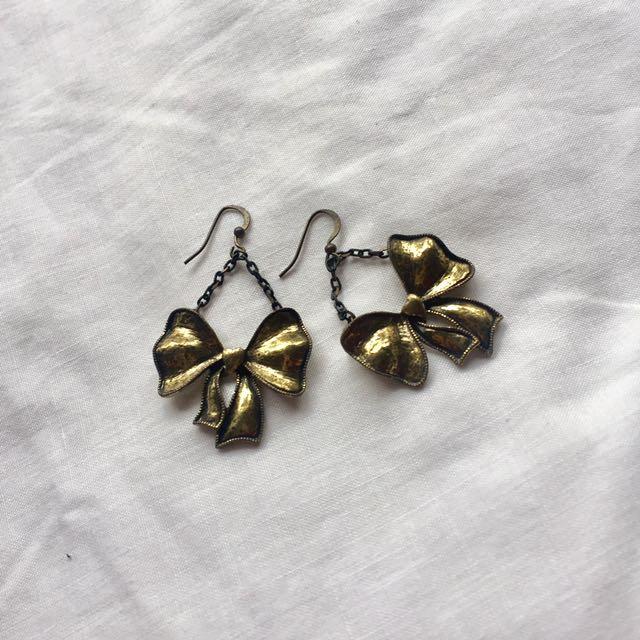 Ribbon Brass Earrings