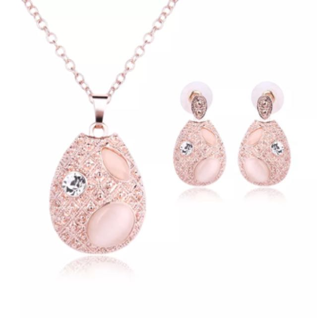 Rose Gold Opal Jewelry Set