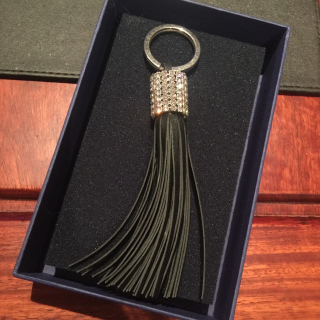Swarovski black Key ring - Leather