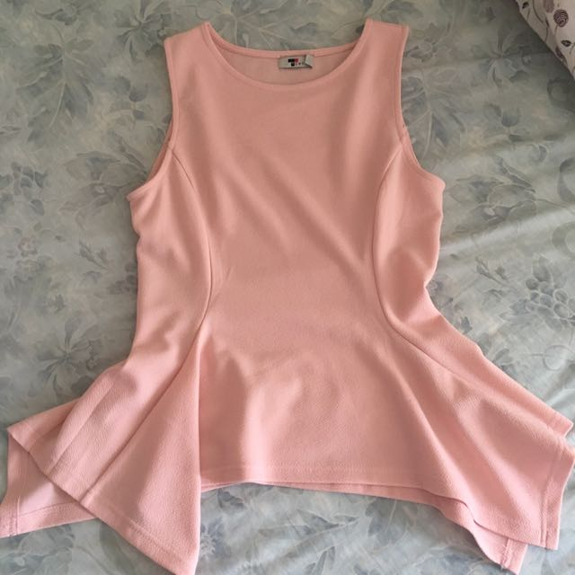 Temt Pink Peplum Top Size 10