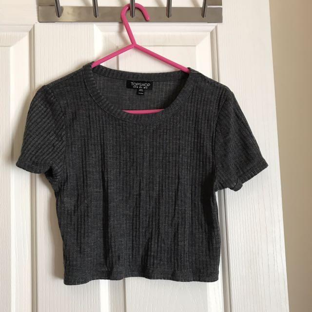 Top Shop Grey Crop Tshirt