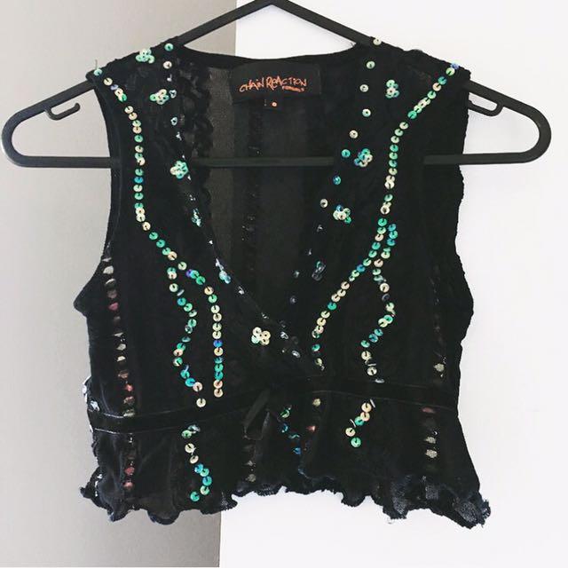 Vintage Crop Top Clothing Retro Sequin