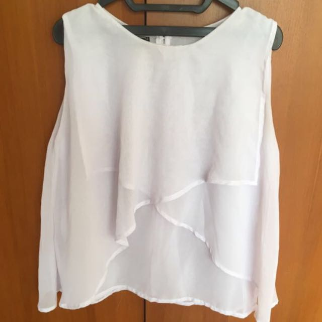 White Double Layer Blouse