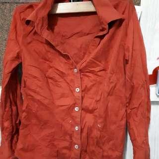 Polo Blouse (Red-Orange)