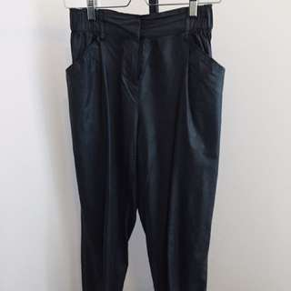 Black High Waist Pleather Trousers