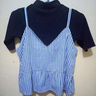 REPRICED!! TAKE ALL Striped Tank Top + Ribbed Turtle Neck Top