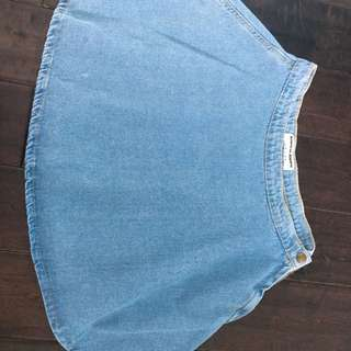 Light Blue Denim Circle Skirt
