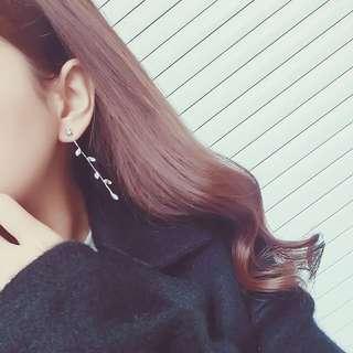 韓款 葉形 水晶耳環 包郵