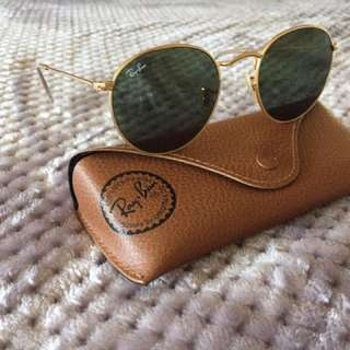 Gold Frame Black Tinted Lens Ray Ban