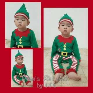 Santa's ELF Costume Romper Onesie 3-6mos