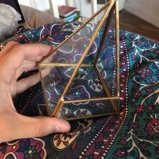 GLASS GOLD PYRAMID SUCCULENT PLANTER