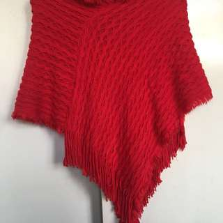 Red Hot Luxury wool poncho❤️