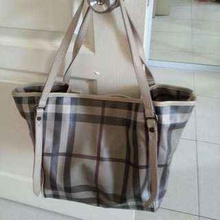 Authentic Burberry Smoked Checked Tote