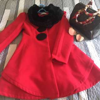 Cute Fur Trench Coat In Gorgeous Wine Red