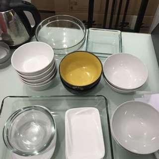 Various Glass And Ceramic Bowl