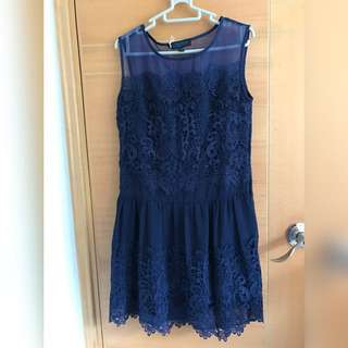 Navy lace drop waist dress with mesh panel