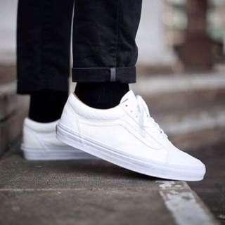 Vans old skool true white 全白 帆布 滑板鞋