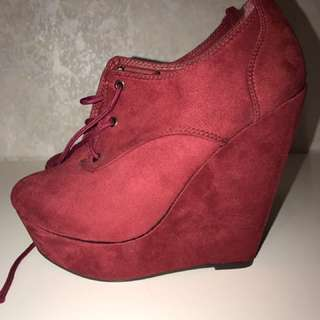 Red Wedge Heels Size 39