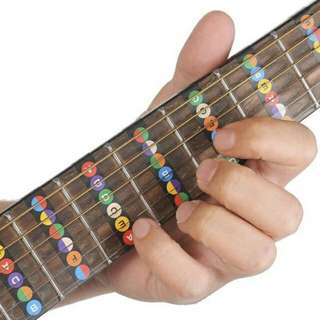 (PO)Vinyl 6 Strings Guitar Fretboard Note Decals Fingerboard Sticker for Beginner