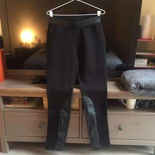 NWOT Vegan Leather Panel Legging Pants