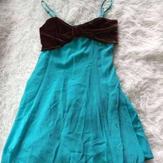 Juicy Couture Blue Silk Tea Dress Uk10