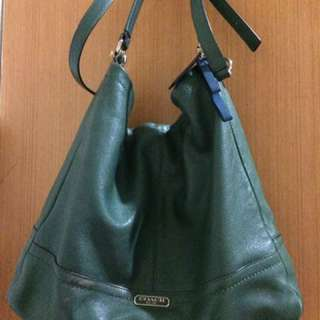Coach GREEN Pebble Leather Park Shoulder Crossbody hobo