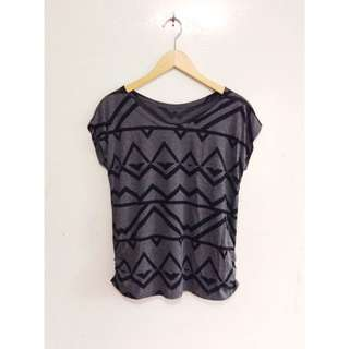 Gray Geometric-Patterned Top