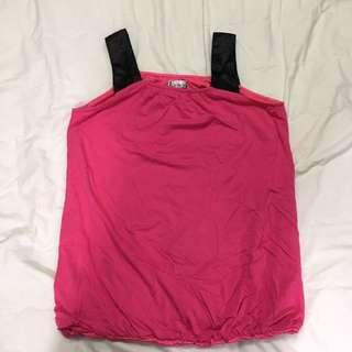🚚 Feravani桃紅色孕婦裝背心上衣/大尺碼也可穿