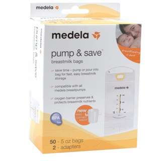 Medela Pump and Save Bags with 2 Adapter