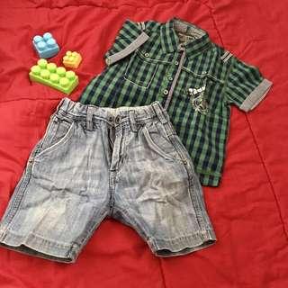 H&M Denim Shorts + Checked Shirt