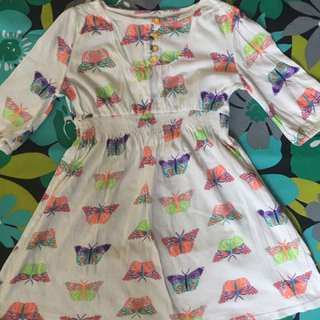 Old Navy Girl's Dress (3/4 Sleeves, Butterfly Design)