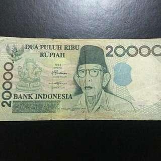 Uang 20000 Rupiah Kihajar Dewantara THN 1998