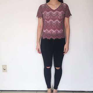 (100% ORI) Label 8 Lace Top