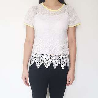 Elvina Top In White With Baby Yellow Lining
