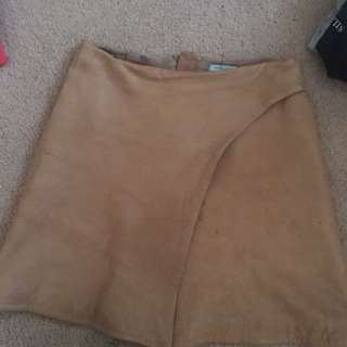 Kookai Sueded Leather Skirt Size 6