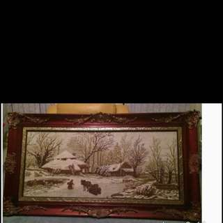 Hand Made   Tapestry With Antique Frames With Glass